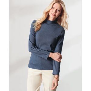 Pendleton Cotton Knit Mock Neck Long Sleeve Brown